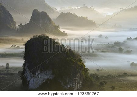 Misty morning light on the top of the mountain hills. Phu Langka  panorama view. ** Note: Soft Focus at 100%, best at smaller sizes