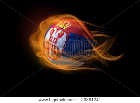 Soccer ball with the national flag of Serbia on fire
