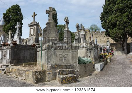 CARCASSONNE FRANCE - MAY 05 2015: Old cemetery of city Carcassonne province Languedoc - Roussillon France