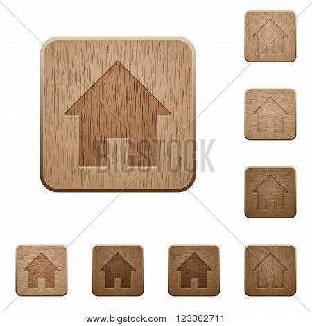 Set of carved wooden home symbol buttons in 8 variations.
