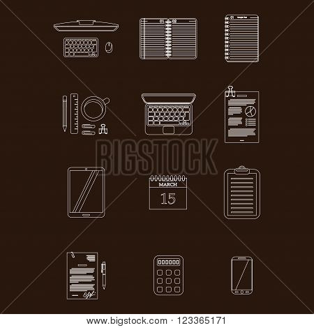 White stroke worktable icons isolated on dark background. eps10
