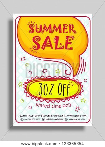Summer Sale Flyer, Sale Banner, Sale Poster with 30% Off for Limited Time.