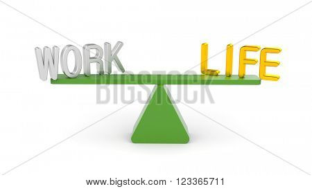 Balance between Work and Life. 3d illustration