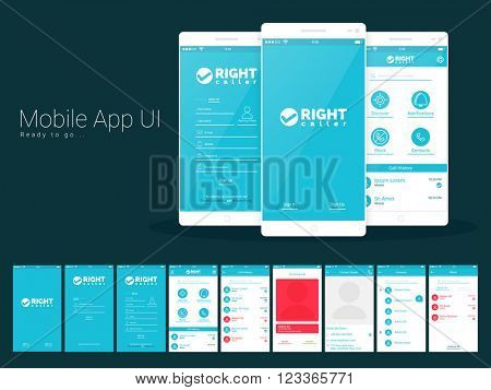 Material Design UI, UX and GUI Screens and flat web icons for calling mobile apps, responsive websites with Sign In, Sign Up, Call History, Incoming Calls, Contact Details, Contact and Block Screens