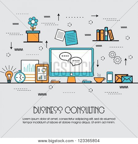 Modern flat style illustration of Business Consulting, Corporate Consulting, Strategic Management, Financial Planning and Office Organisation, hero image concept, website elements layout.