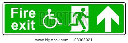 A Fire exit Wheelchair access up sign