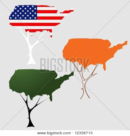 United States Of America Flag Map in a tree