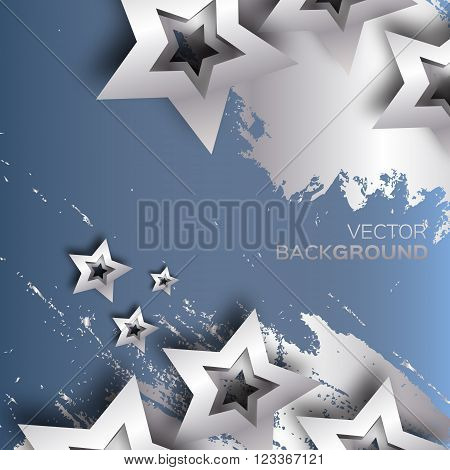 Abstract Origami Silver Stars on blue vector background. Cosmic falling shining stars. Trendy Illustration for design