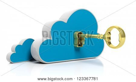 3D rendering Golden retro key in lock on storage cloud icon, isolated on white