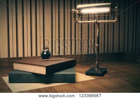 Two book with ink-pot on top and a lamp on wooden table. 3D Render