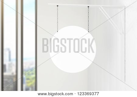 Circular stopper hanging inside white building. Mock up 3D Render