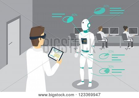 Programming engineer sets a robot using head-mounted device for augmented and virtual reality. Conceptual illustration of man looking at the robot and seeing his parameters through the headset