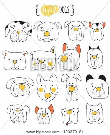 Set of 16 cute dogs doodle . Sketch dog . Dog handmade . Dogs Print  for T-shirts. Print for clothes . Children doodle animals . Stylish dog's muzzle . Isolated dog. PET