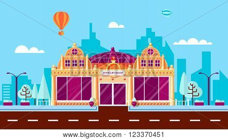 Stock vector illustration city street with jewelry shop in flat style element for infographic, website, icon, games, motion design, video