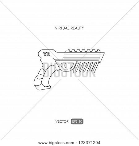 Gun for virtual reality system. Game weapons. Outline drawing. Vector illustration