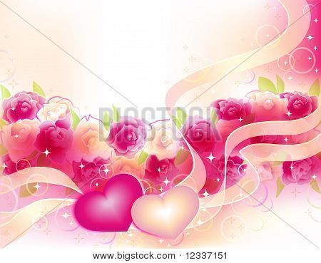 Valentines Background With Roses And Hearts