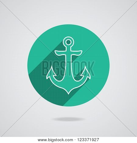 Nautical white metal flat icon anchor illustration with long shadow isolated on white background. Seamless retro button with anchors silhouette. Web page element