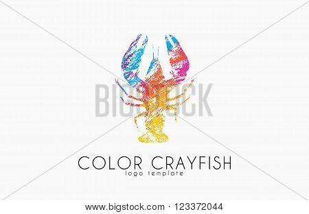 Crayfish logo. Color crayfish logo design. Seafood logo.
