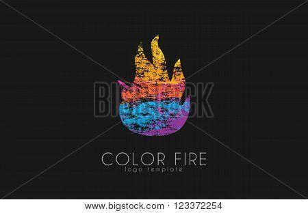Fire ball logo. Fire logo. Color fire logo. Creative logo.