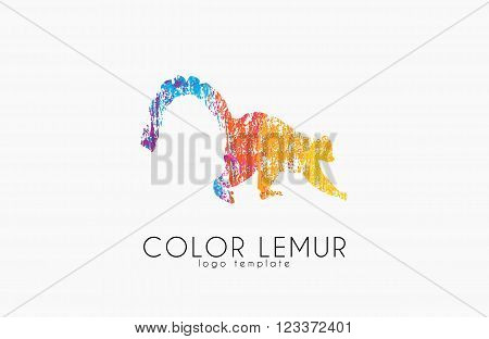 Lemur Animal Emblem Vector. Logo Template design
