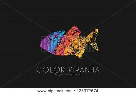 Piranha logo design. Fish logo. color piranha.
