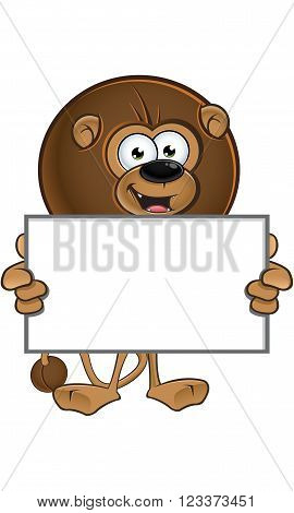 Lion With Round Mane - Holding Blank Board
