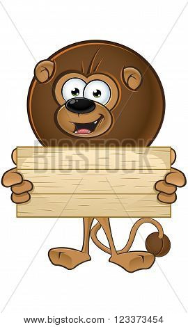 Lion With Round Mane - Holding Wooden Sign