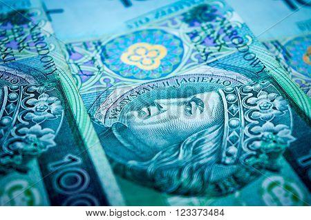 Polish money, one hundred Polish zloty, green banknotes