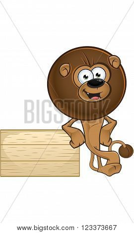 Lion With Round Mane - Leaning On Wooden Sign