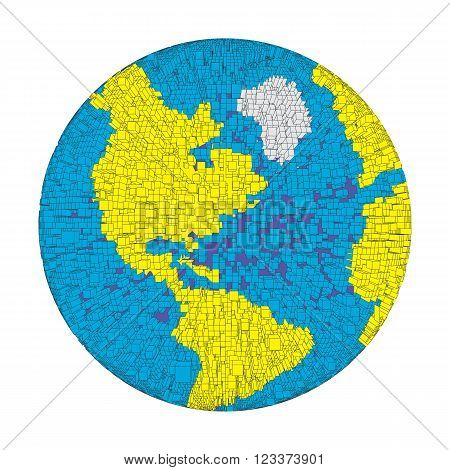3D colored distorted globe of pixel bricks particles and wireframe. Futuristic vector illustration. puzzle element. Earth day, ecology splash or explosion concept