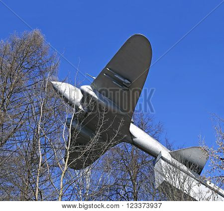 ISTRA, RUSSIA - MARCH 26, 2016: Monument to the Soviet heavy bomber aircraft IL-2
