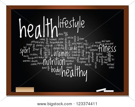 3D illustration oncept or conceptual abstract word cloud on blackboard and chalk background
