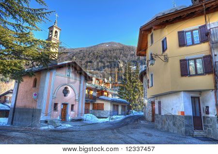 Church On Small Street In Limone Piemonte.