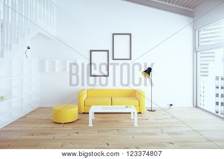 Living Room Yellow Sofa