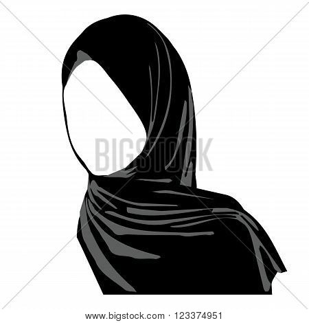 Hijab wearing logo. Islamic traditional clothes. icon of hijab. Eastern Women's Clothing logo. Arab headscarf. vector illustration hijab girl.