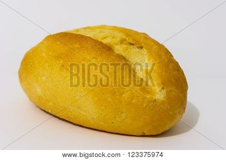 Isolated French roll on the white background