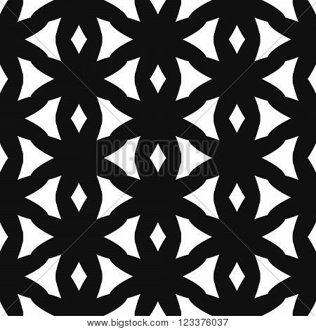 Simple reticulate shape black and white seamless pattern. Vector geometric monochrome starlight background. Net reticulate pattern. Reticulate monochrome classic ornament.