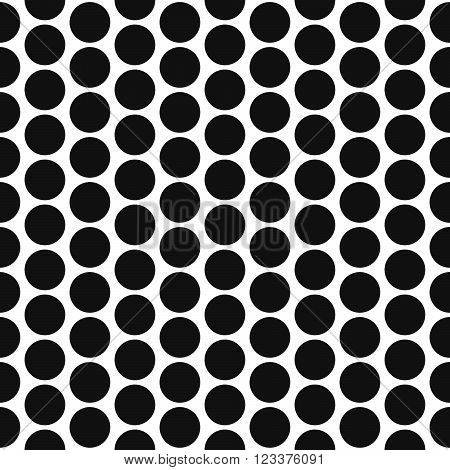 Simple bold polka dot shape black and white seamless pattern. Vector geometric monochrome starlight background. Polkadot bold pattern. Dotted monochrome classic ornament.