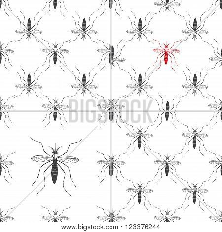 Set of four seamless patterns with aedes mosquitos. Texture of insects. Healthcare concept. Pattern warning about dangerous Zika virus. Black and red design elements on white background.