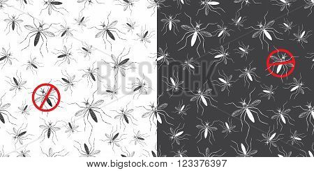 Set of seamless patterns with aegypti aedes mosquitos. Texture of insects. Healthcare concept. Warning about dangerous Zika virus. Black and red design elements isolated on white and black background.