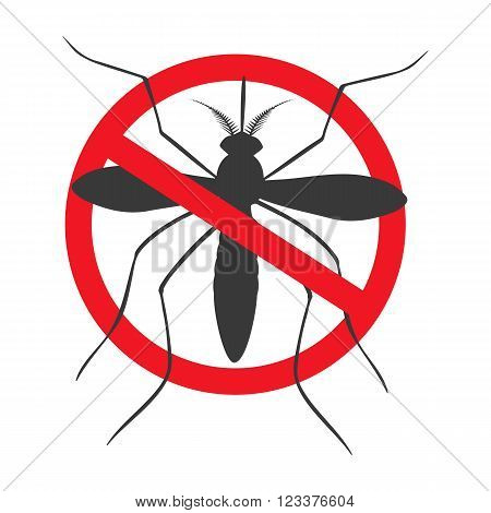 Zika alert banner poster flyer with aegypti aedes mosquito silhouette. Forbidden no mosquito sign. High quality graphic design elements isolated on a white background. Healthcare concept.