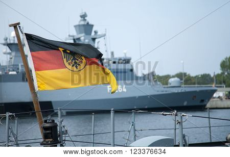the german Bundesdienstflagge on a german warship