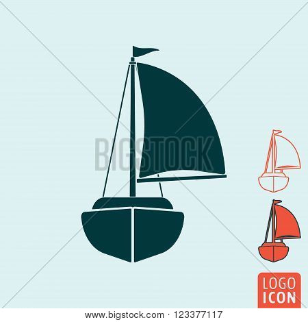 Yacht icon. Yacht symbol. Sailing ship icon isolated. Vector illustration