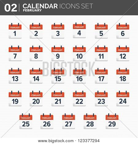Vector illustration. Calendar icons set.  Date and time.  February