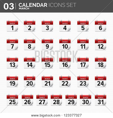 Vector illustration. Calendar icons set.  Date and time.  March.