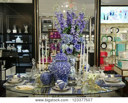 NEW YORK - MARCH 22, 2016: Flowers decoration during famous Macy's Annual Flower Show in the Macy's Herald Square in midtown Manhattan