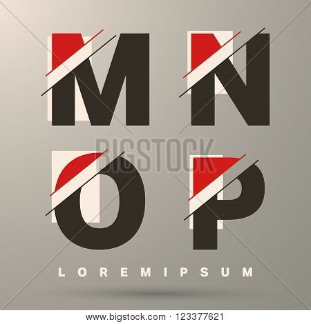 Alphabet font template. Set of letters M N O P logo or icon. Vector illustration.