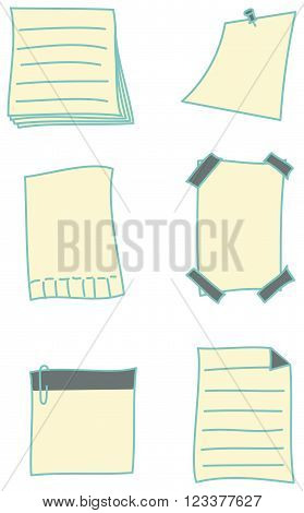 Hand-drawn set of paper notes and stickies in different variations