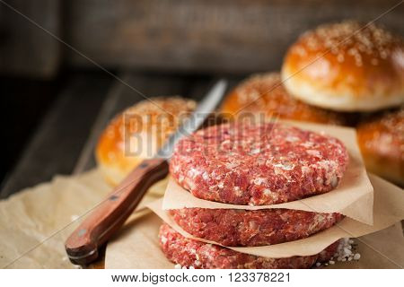 Raw Ground Beef Meat Steak Cutlets And Burger Buns