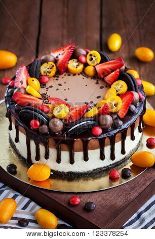 Chocolate Cheesecake Decorated With Fresh Fruits